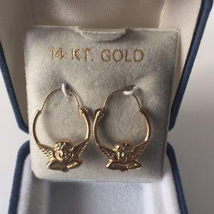 NWT 14K Gold Cherub Angel Hoop Earrings